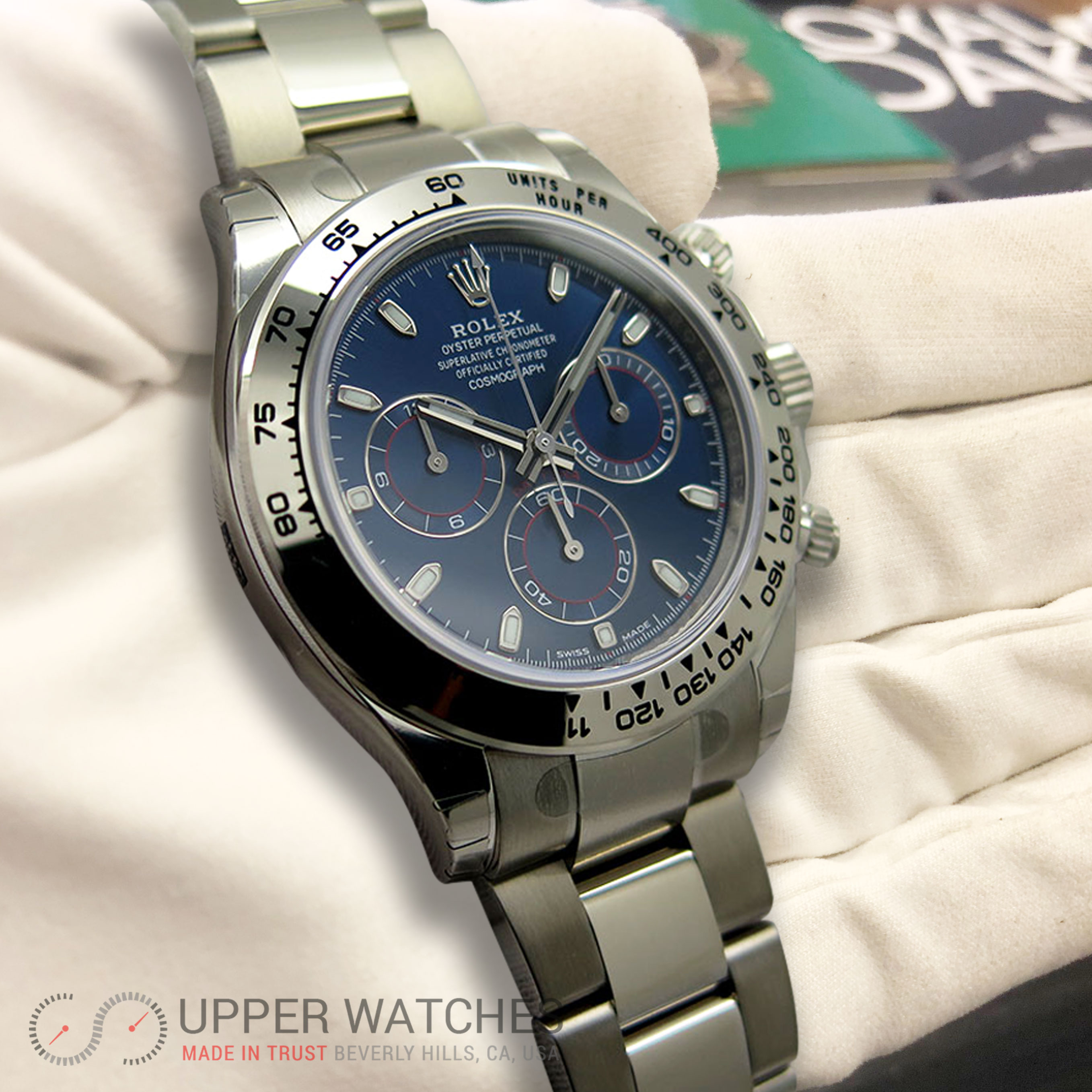 rolex 116509 cosmograph daytona 18k white gold with blue