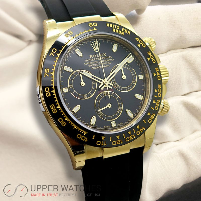 Rolex 116518 Ln Cosmograph Daytona 18k Yellow Gold With Black Dial For Men