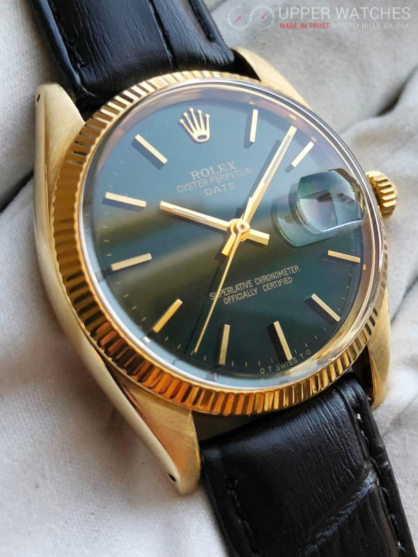 Rolex, Perpetual Date, reference 1503, Vintage, Date, Solid Yellow Gold,  Green electric Hulk Dial