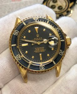 18k Yellow GOLD Rolex Submariner 1680 Gilt Black Nipple Dial circa 1973